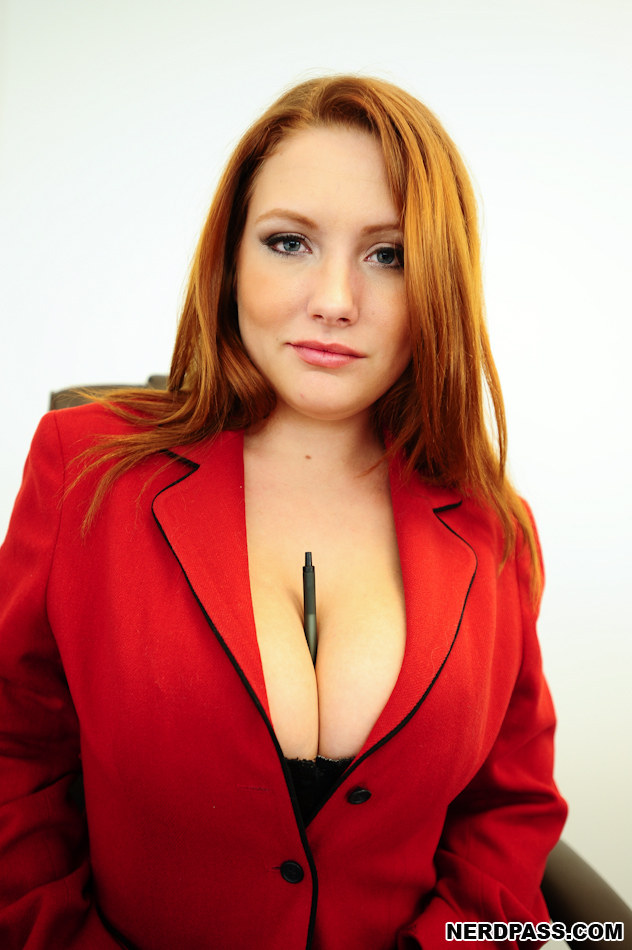 Red head with huge natural tits