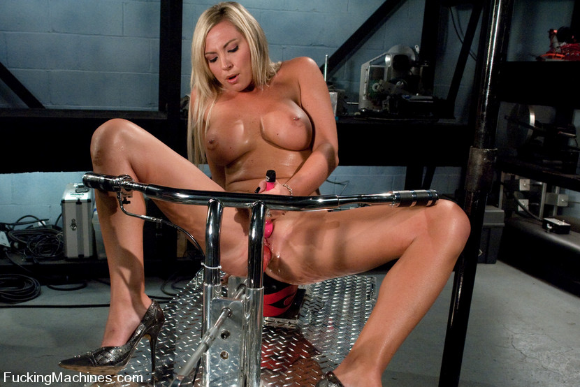 Busty Blonde Fucked By A Machine To Orgasm