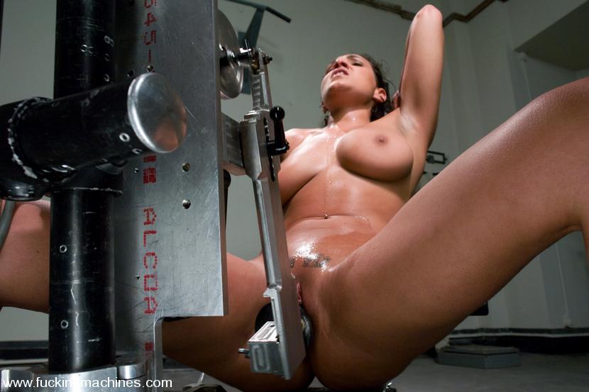 Hot girl hard fucking with sex machine intense orgasm