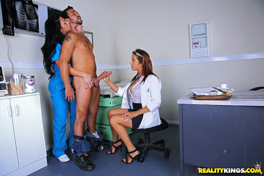 Sexy doctor licking penis